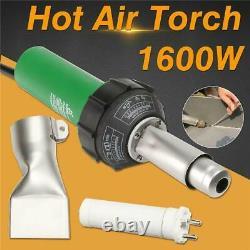 1600w Hot Air Pvc Vinyl Plastic Welding Torch Heat Gun Welder Tool Flat Nose