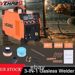 3-IN-1 MIG MMA TIG Welder DC 200A Inverter Gas Gasless Arc Spool Welding Gun USA