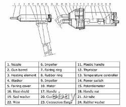 Go2Home 1080W Split Hot Air Gas Plastic Welder Welding Heat Gun Kit Welder