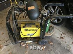 MIG welder, welding table, argon gas tank, mask, gloves, spool gun, metal stock