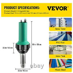 VEVOR Roofing Welder PVC Welding Gun 9 pcs 1600W 120V Welding Tool Kit with Brush