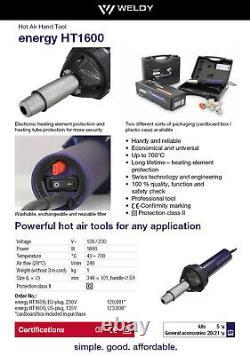 WELDY 1600W Hot Air Gun Heating Gun Plastic Welding Gun PVC TPO Membranes Welder